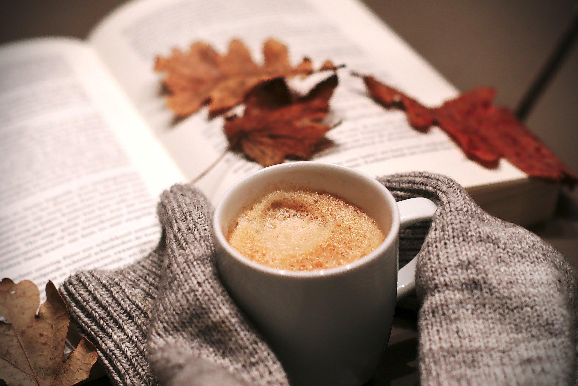 en kop kaffe og en bog ude i haven